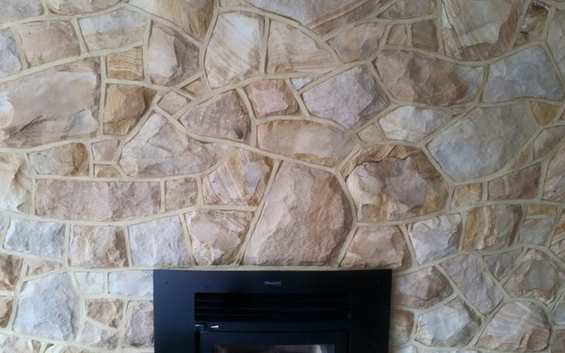 Charteris Bay Sandstone with Coloured Ribbon Pointing